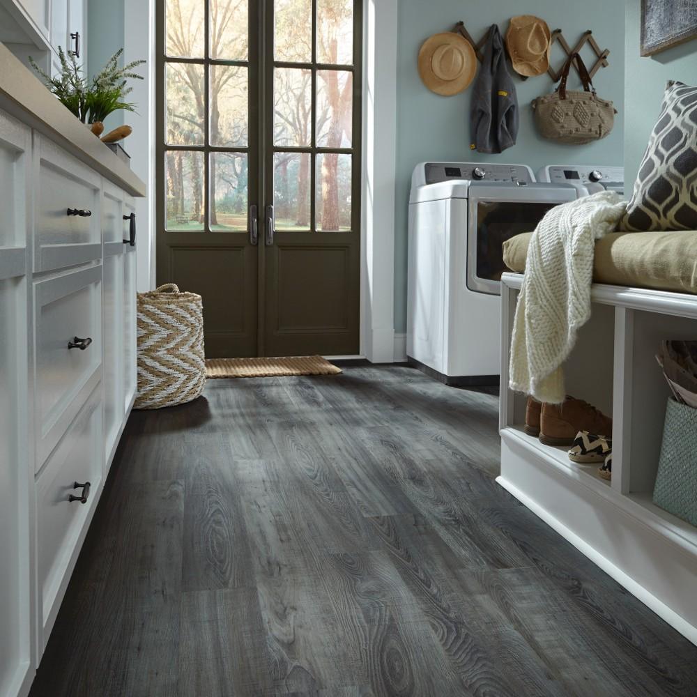 luxury vinyl flooring in the laundry room